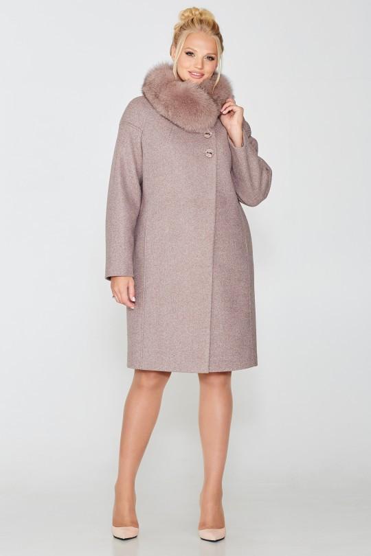 Жіноче зимове пальто з коміром з песця Elvi 614
