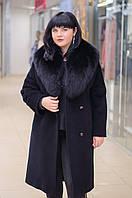 Зимнее женское пальто из ворсовой ткани с шалевым воротником из песца Ricco Англия