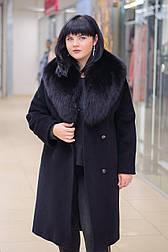 Зимове жіноче пальто з ворсової тканини з шалевим коміром з песця Ricco Англія