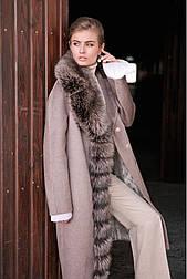 Зимове жіноче пальто з альпаки з хутром Vam 569