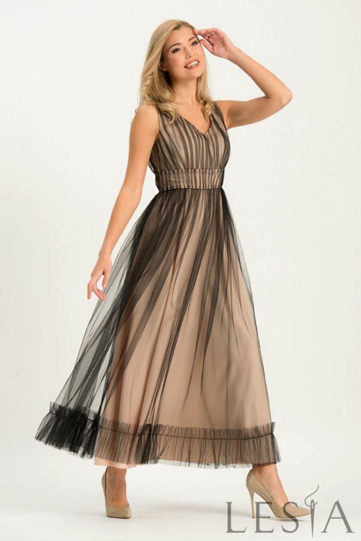 Довге вечірнє плаття з рюшами по низу з євро сітки на атласі Lesya Сента.