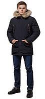 Чорна парку тепла на зиму чоловіча модель 37560 (ЗАЛИШИВСЯ ТІЛЬКИ 46(S)), фото 1