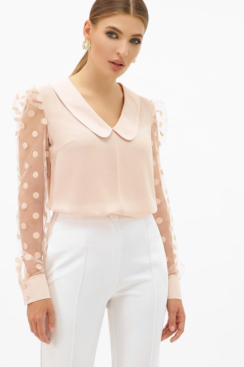 Блуза женская розовая нарядная Сесиль д/р