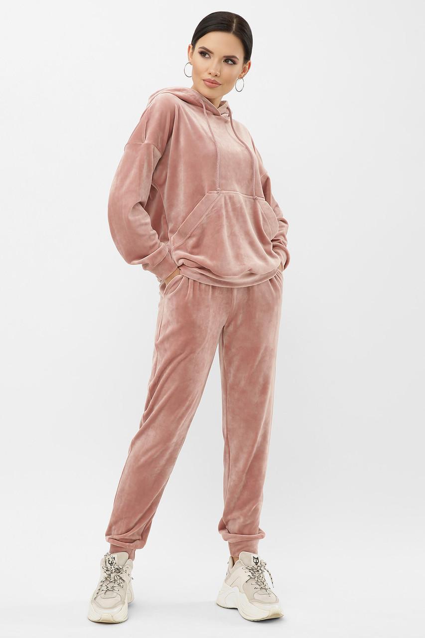 Жіночий прогулянковий велюровий костюм з худі і штанів на манжеті Юнона