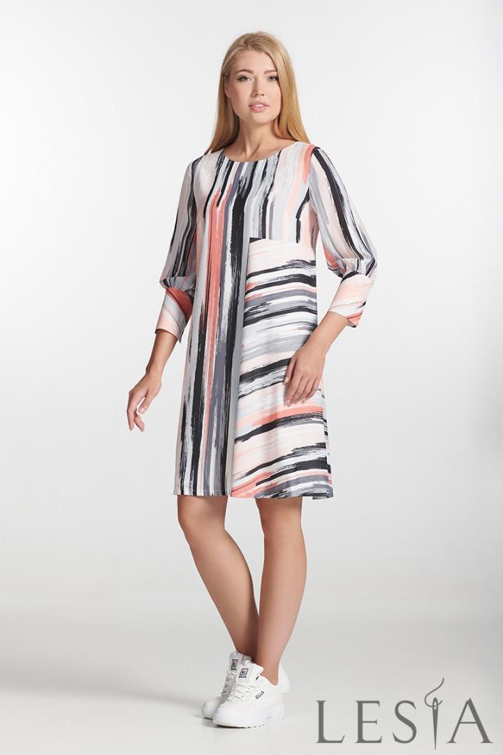 Стильне плаття прямого силуету в смугастий принт Lesya Итая