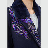 Зимнее кашемировое пальто с вышивкой и норкой Raslov 956, фото 4
