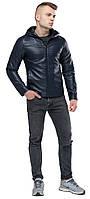 Стильна шкіряна куртка чоловіча осінньо-весняна темно-синя модель 15353, фото 1