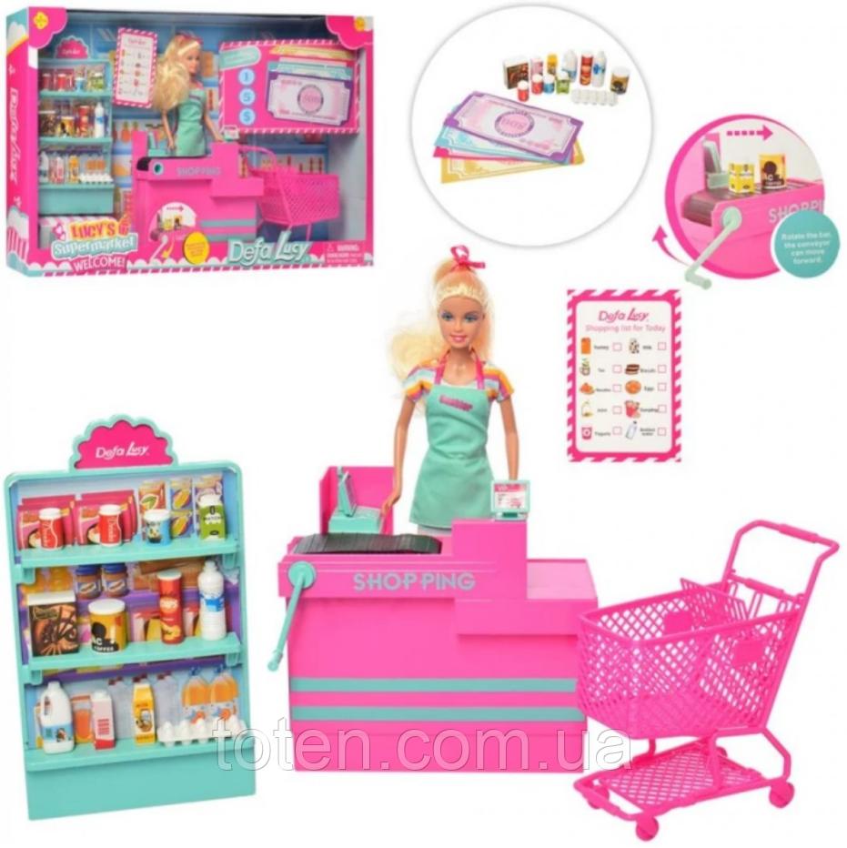 Лялька DEFA 29 см в супермаркеті 8430-BF магазин, прилавок, продукти, візок