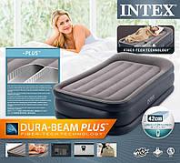 Надувная кровать-матрас Intex 64132, встроенный электронасос. Односпальная 99 х 191 х 42