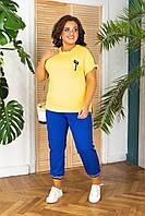 Летний прогулочный женский костюм-туника и лосины батал с 50 по 64 размер