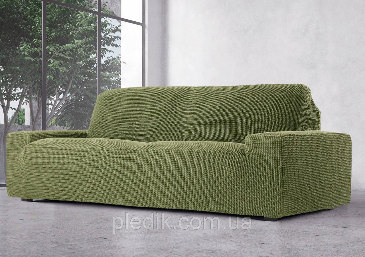 Чехол на диван натяжной 3-х местный Испания, Glamour Green Гламур оливковый