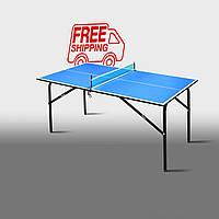"""Теннисный стол для помещений """"Феникс"""" Kids синий"""