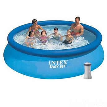 Надувной бассейн c  фильтром катриджным насосом 2 006 л/ч  Intex 366х76 см