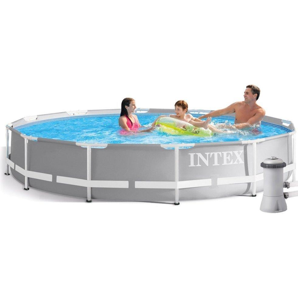 Круглый каркасный бассейн Intex Prism Frame Composite T-Joints  + фильтр-насос 2 006 л/ч  366х76 см (26712)