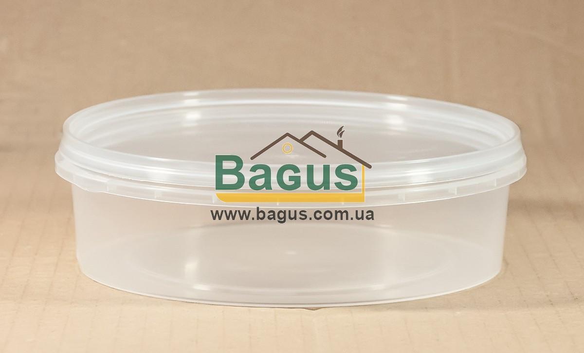 Ємність 0,5 л з харчового пластику кругла з кришкою (прозора)