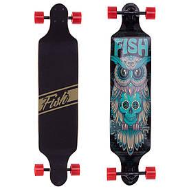Скейт Лонгборд профессиональный Fish деревянный фрирайд (сова) SK-415-2