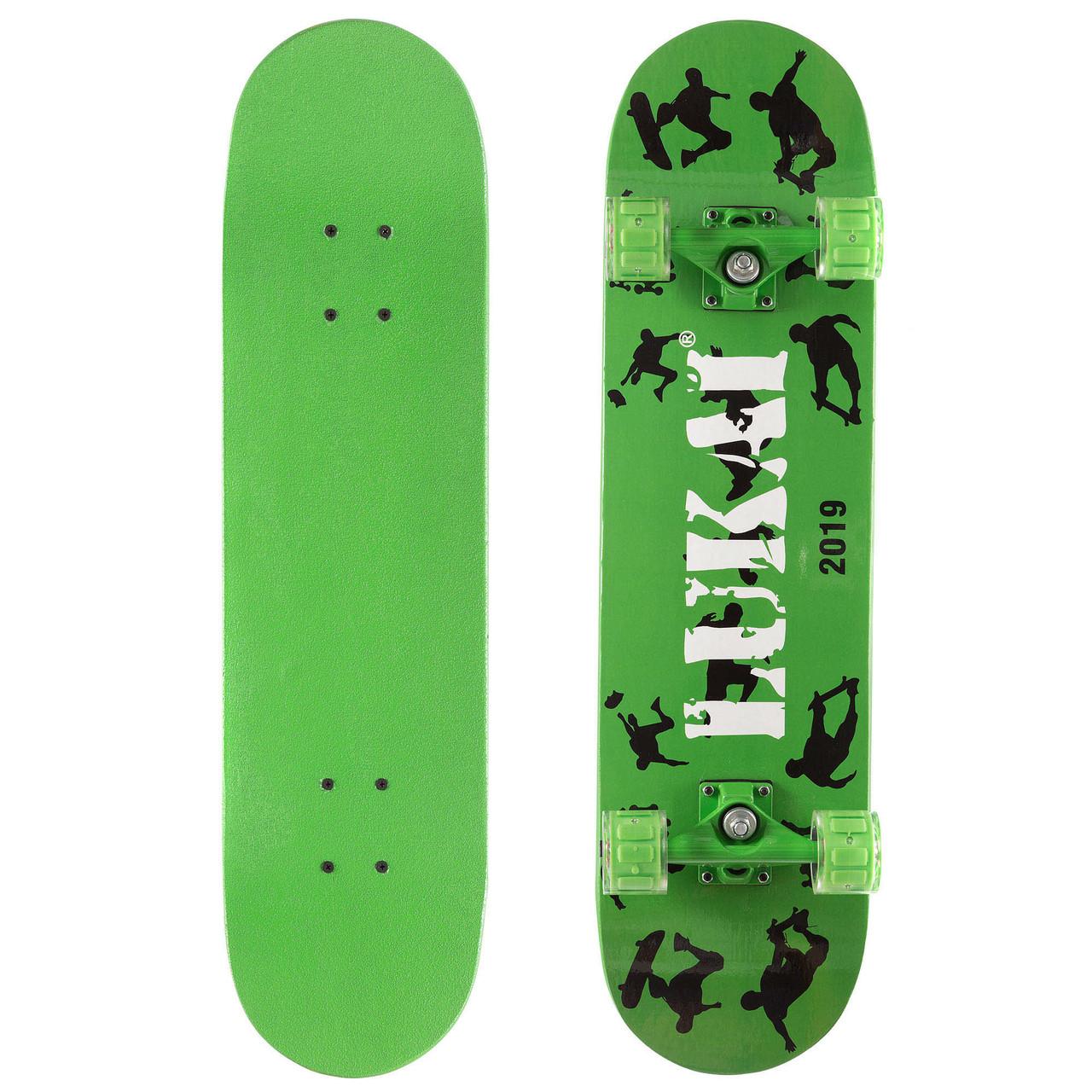 Скейт в сборе зелёный со светящимися колесами LUKAI SK-1245-2