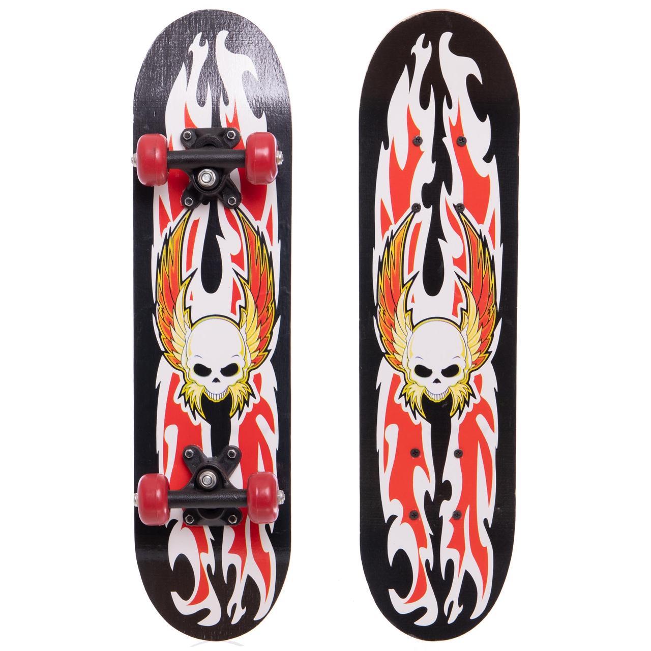 Скейтборд Mini в сборе (роликовая доска) 60х15х1,2см SK-4932, Черно-красный