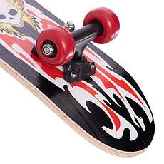 Скейтборд Mini в сборе (роликовая доска) 60х15х1,2см SK-4932, Черно-красный, фото 3