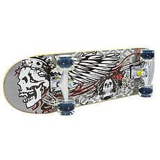 Скейт в сборе (роликовая доска) светящиеся колеса 78х20х1,2см SK-0314, Серый, фото 2