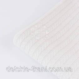 """Відріз бавовняного полотна """"косичка"""" білого кольору, 20*230 см"""