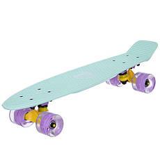 Скейт пластиковий Penny FISH 56 см з світяться колесами SK-405-9, фото 2