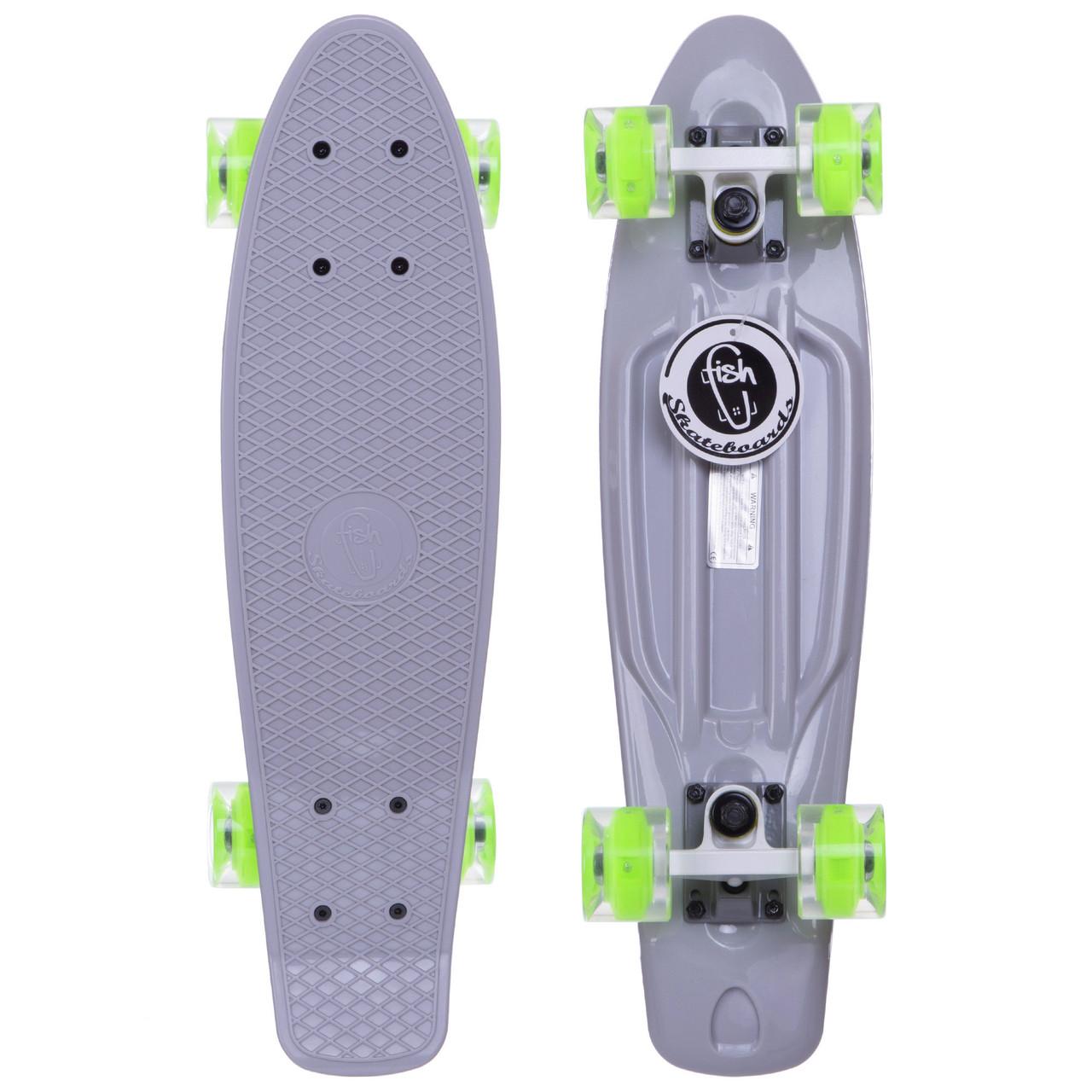 Скейтборд пластиковый Penny FISH 56 см со светящимися колесами SK-405, Серый