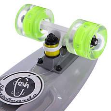 Скейтборд пластиковый Penny FISH 56 см со светящимися колесами SK-405, Серый, фото 3