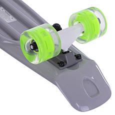 Скейтборд пластиковый Penny FISH 56 см со светящимися колесами SK-405, Серый, фото 2