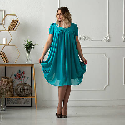 Красивые женские платья больших размеров 48-56 бирюза