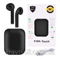Беспроводные bluetooth-наушники V99-Touch с кейсом, black
