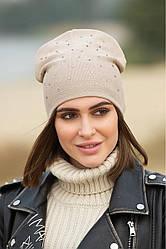 """Стильная женская шапка """"Стразы"""" демисезонная двойная цвет бежевый"""