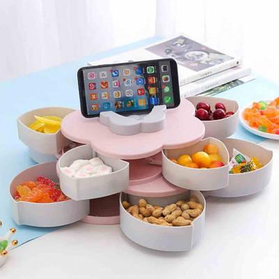 Вращающаяся тарелка-органайзер для закусок фруктов и сладкого Kitchen Boxes с подставкой под телефон