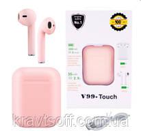 Беспроводные bluetooth-наушники V99-Touch с кейсом, pink