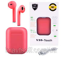 Беспроводные bluetooth-наушники V99-Touch с кейсом, red