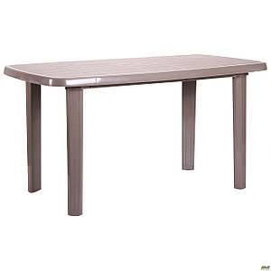 Пластиковый стол Sorrento 140x80 см коричневый прямоугольный для сада для кафе на улице