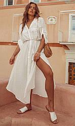 Пляжная белая туники-рубашки с поясом