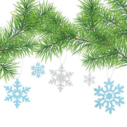 Новогодняя интерьерная наклейка набор Снежинки 3Д (бумажные, картонные снежинки, снег)
