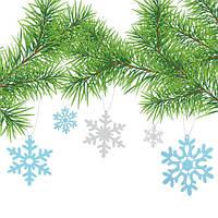 Интерьерная наклейка новогодний комплект Снежинки 3Д объемные картонные, фото 1