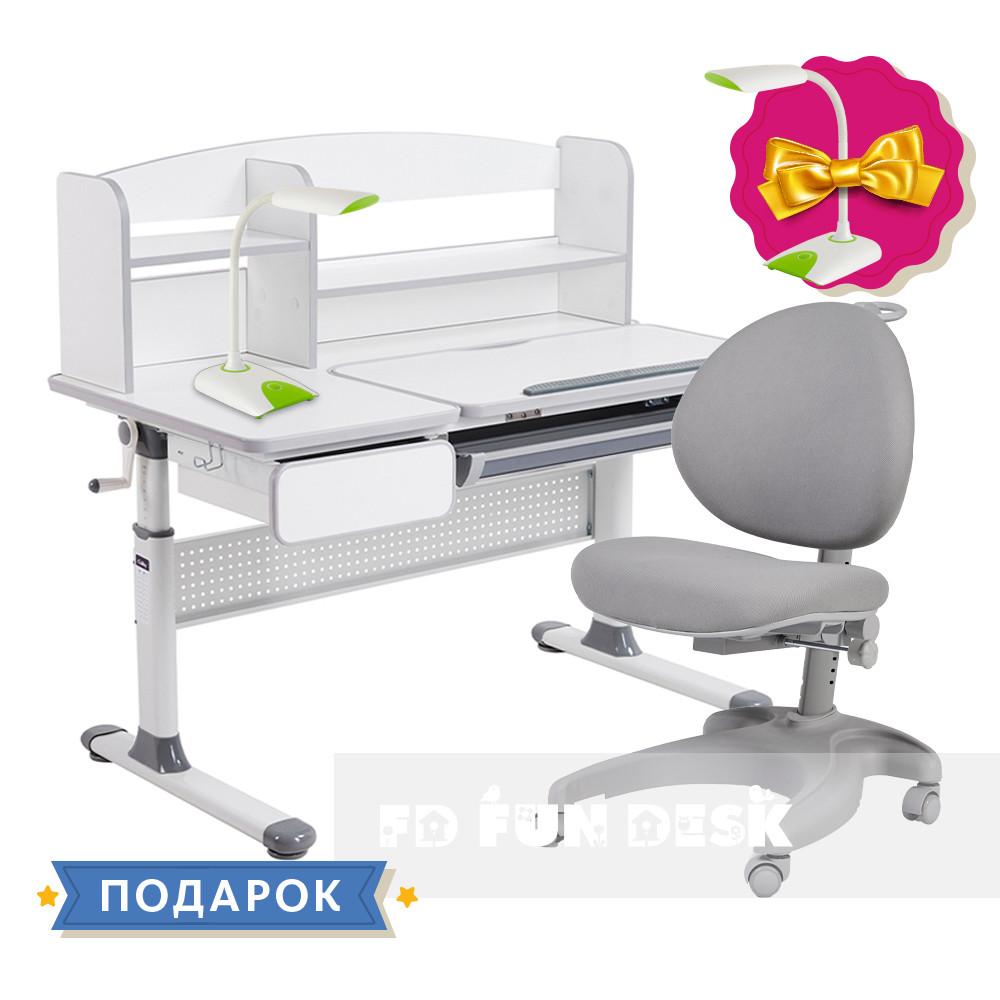 Комплект для школьников парта Cubby Rimu Grey + эргономичное кресло FunDesk Cielo Grey