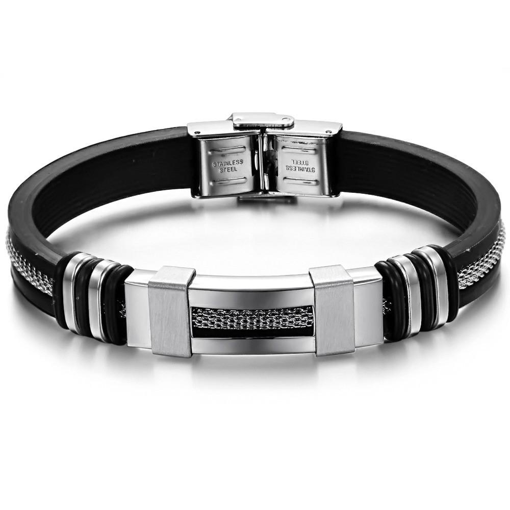 Каучуковый браслет «Chain» серебро со вставками из нержавеющей стали