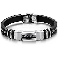Каучуковый браслет «Chain» серебро со вставками из нержавеющей стали, фото 1