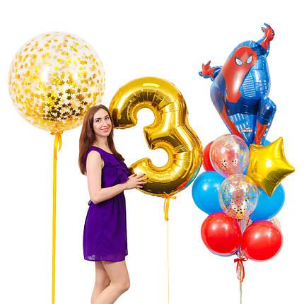 Оформление из воздушных шаров с фигурой Спайдермен и золотой цифрой, фото 2