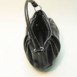 Черная кожаная сумка cо сборками., фото 3
