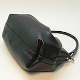 Черная кожаная сумка cо сборками., фото 2
