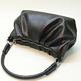 Черная кожаная сумка cо сборками., фото 4