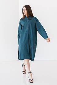 Стильная длинная однотонная рубашка-платье с длинным рукавом свободного кроя в 3 цветах в одном размере S-XL.