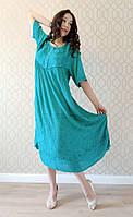 Платье бирюзовое с рукавом, большой размер, на 56-66 размеры