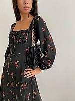 Женское платье миди с квадратным вырезом с цветочным принтом ( 42-44; 46-48, пять принтов)