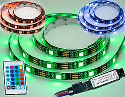 Світлодіодна стрічка з пультом RGB 5050 чорна на 2 метри, rgb діодний стрічка | светодиодная лента